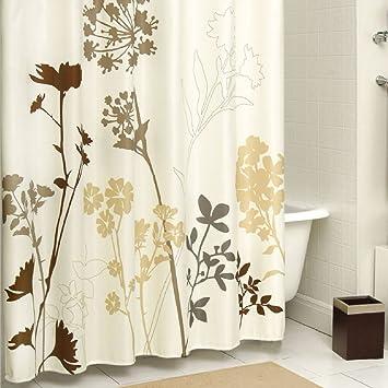 cream colored shower curtain. DS BATH Silhouette Flower Shower Curtain Mildew Resistant Fabric  Plants Curtains Amazon com