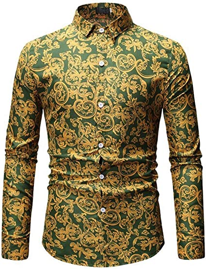 Camisa Estampada Para Hombre Brillo metálico masculino ...