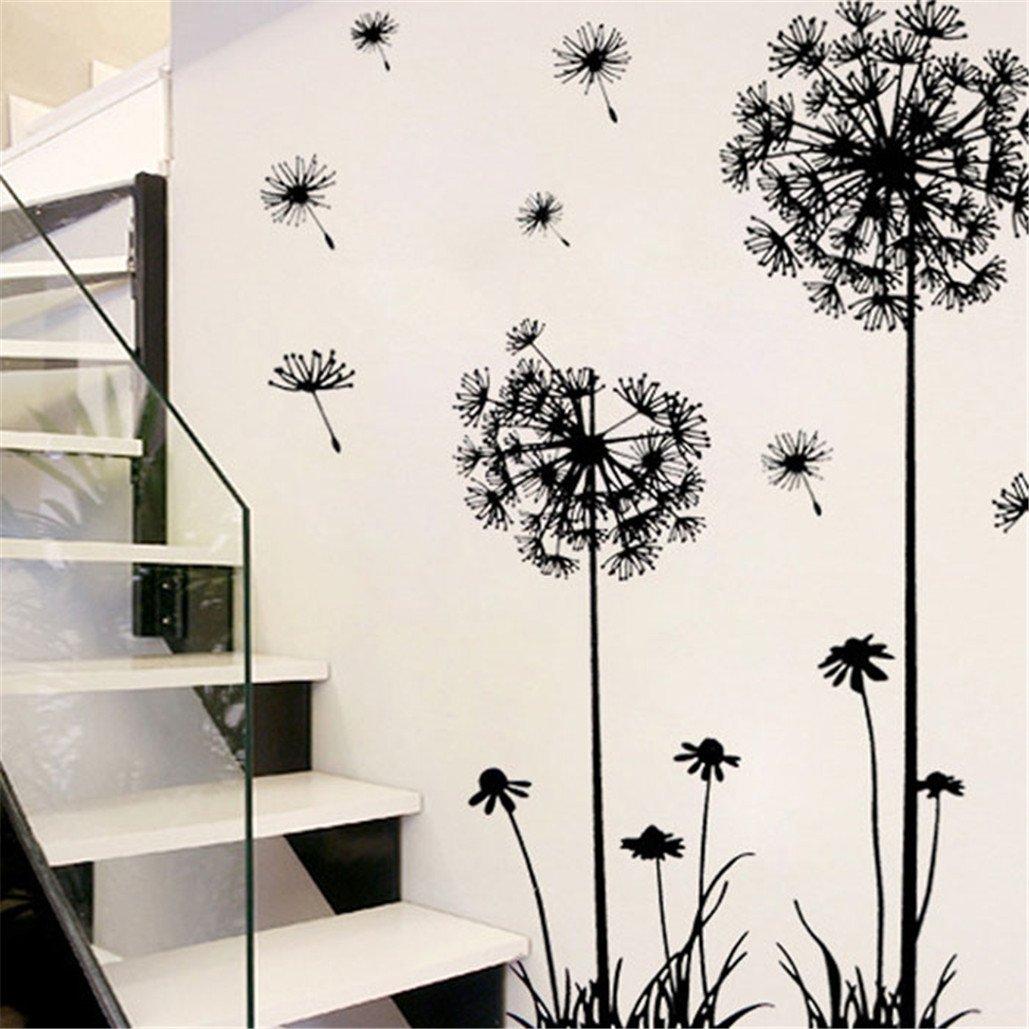 Tuscom Black Creative PVC Dandelion Flower Plant Tree Large Removable Home Wall Decal Sticker