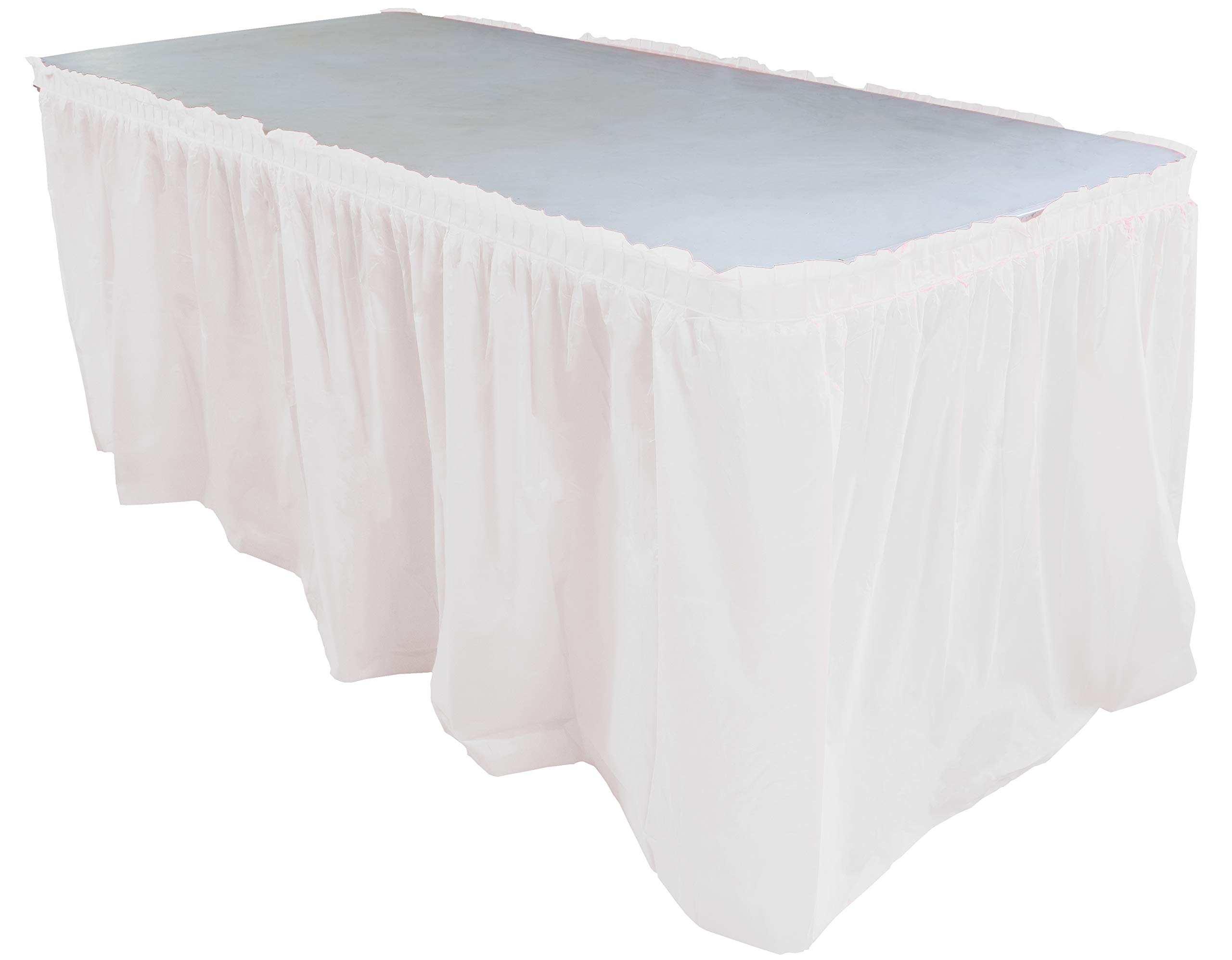 Exquisite Solid Color 14 Ft. Plastic Tablecloth Skirt, Disposable Plastic Tableskirts - White - 6 Count by Exquisite