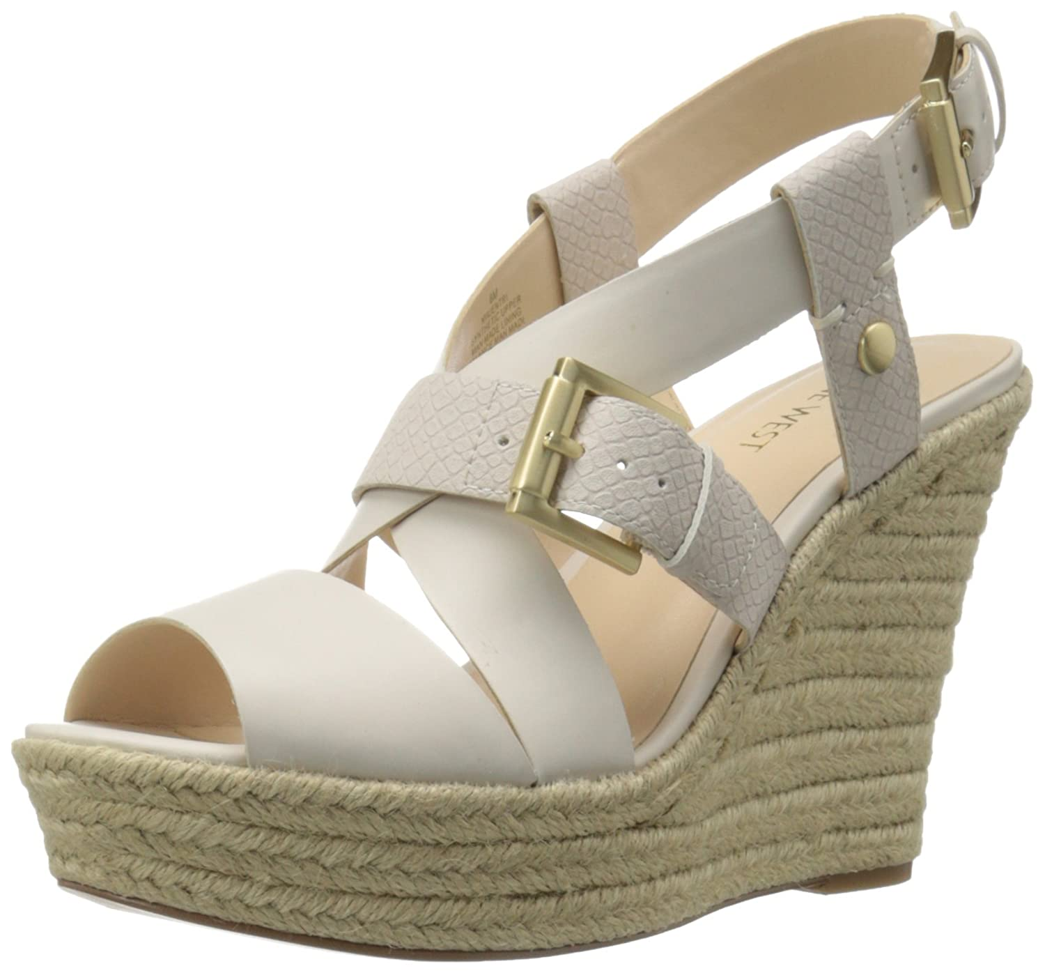 Nine West Women's Jentri Synthetic Wedge Sandal B017MJL29O 9.5 B(M) US|Off White/Off White