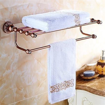 SYW El kit de rack de toallas de latón Euro aumentó en un baño de oro