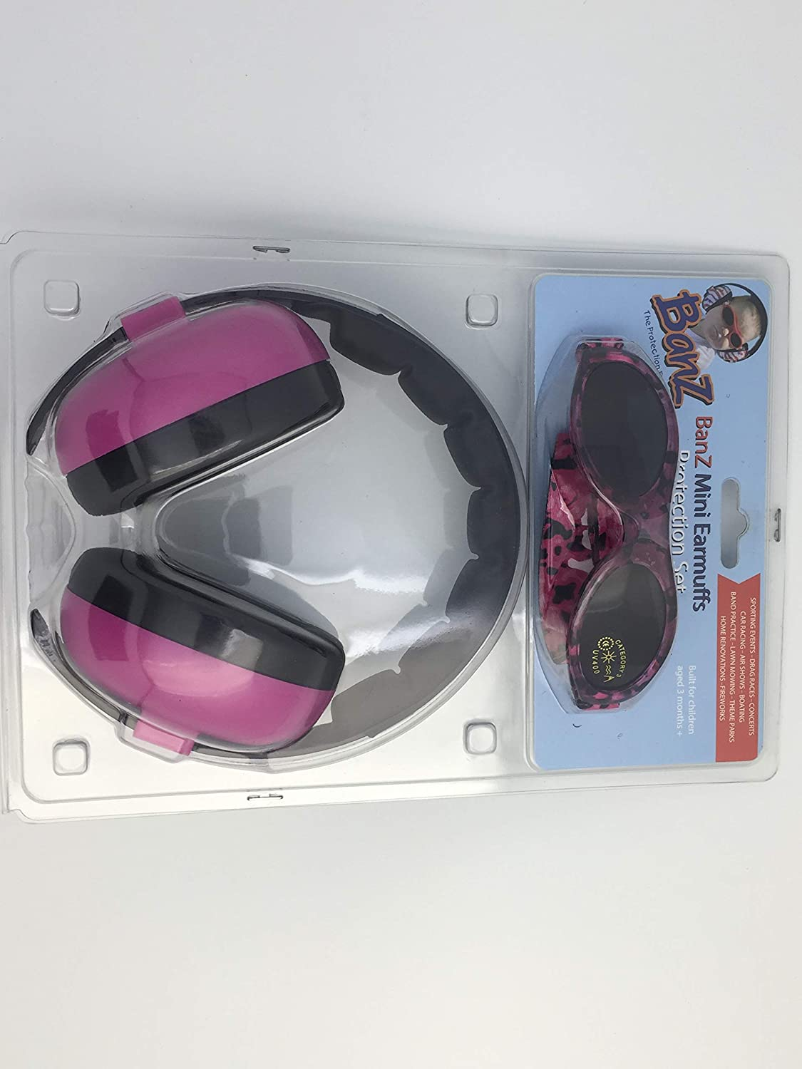 Baby Banz Earmuffs and Infant Hearing Protection and Sunglasses Combo 0-2 Years, Magenta EM019