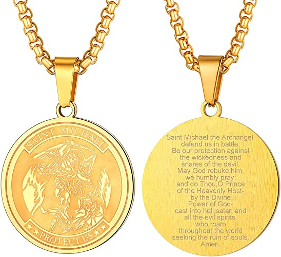 FaithHeart Saint Michael Necklace Stainless Steel//Gold Plated St Personalized Custom Archangel Protection Pendant for Men//Women Michael The Archangel Medal Jewelry