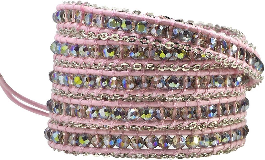 KELITCH Beads Wrap Bracelet Hand Braided Onyx Mix Hematite Beads on Black Leather Cuff Adjustable Jewelry