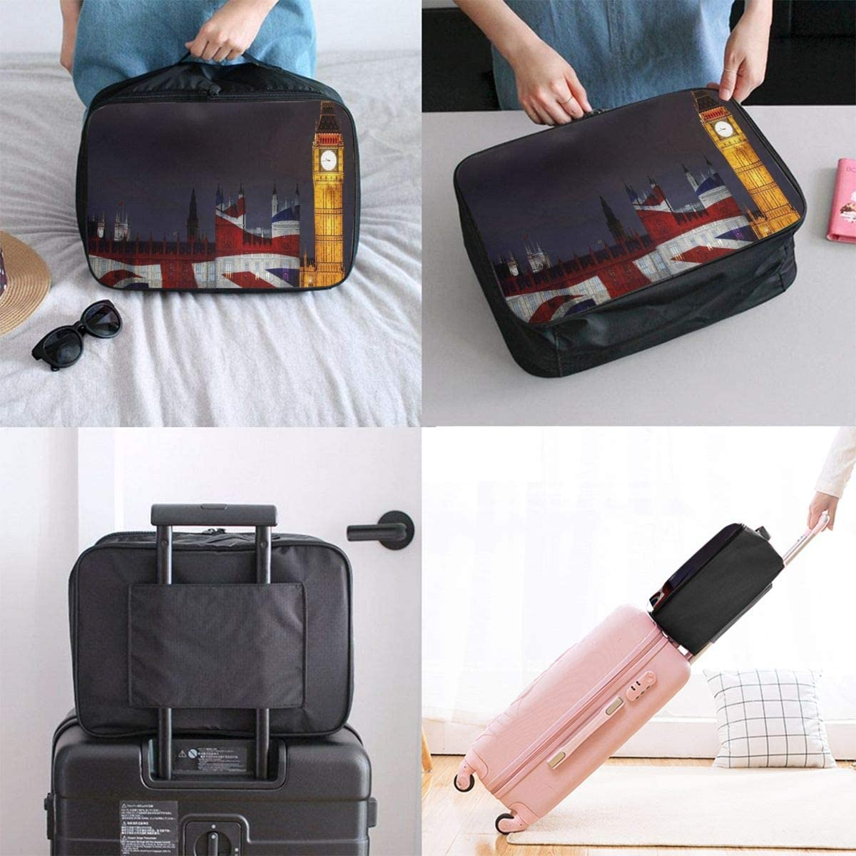 Travel Bags London Big Ben Union Jack Portable Suitcase Trendy Trolley Handle Luggage Bag