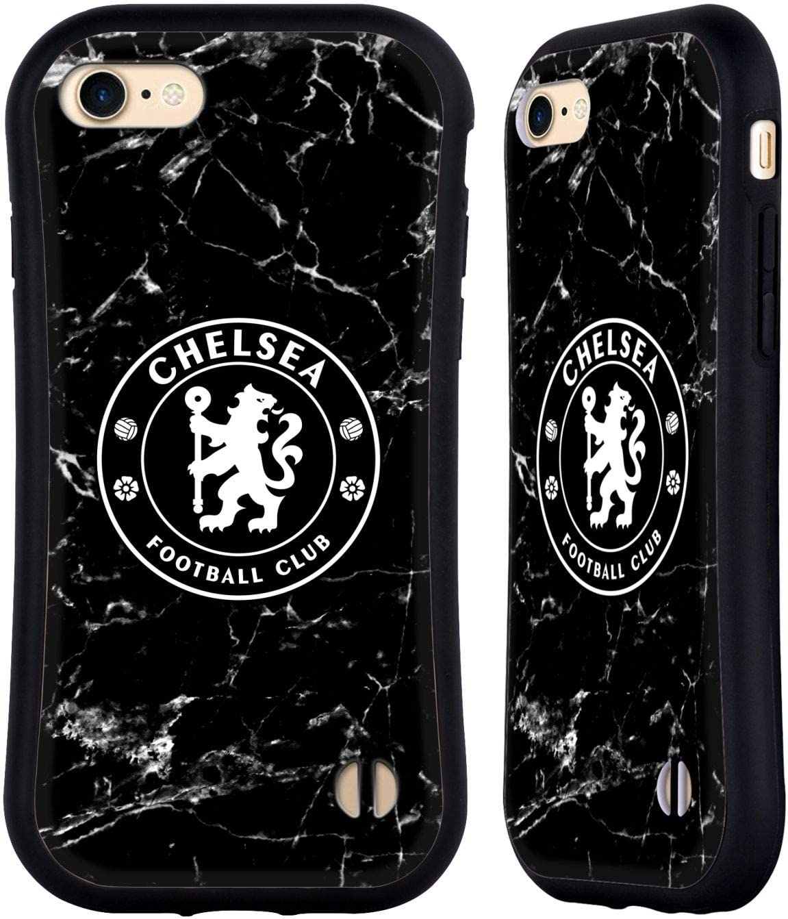 Head Case Designs Officially Licensed Chelsea Football Club Black Marble Crest Hybrid Case Compatible with Apple iPhone 7 / iPhone 8 / iPhone SE 2020