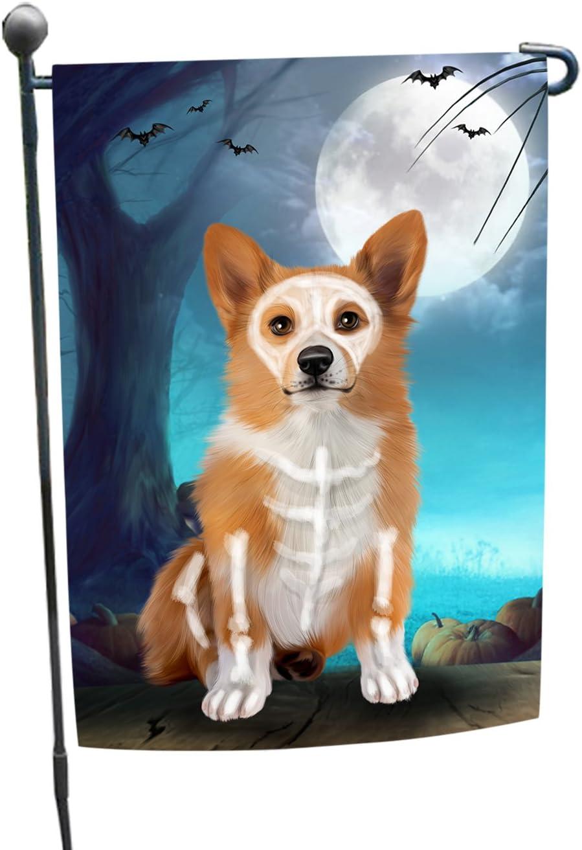 Happy Halloween Trick or Treat Pembroke Welsh Corgi Dog Skeleton Garden Flag
