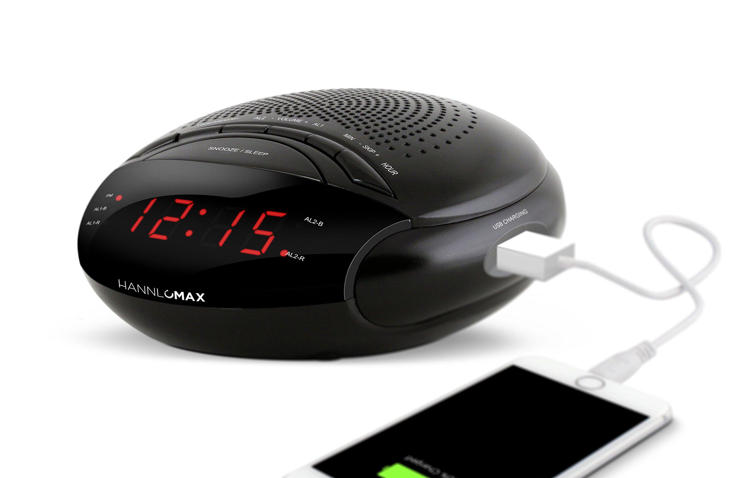 Hannlomax HX-200 Dual Alarm Clock Radio with USB Port for Charging, Sleep & Snooze Function, Electronic Volume