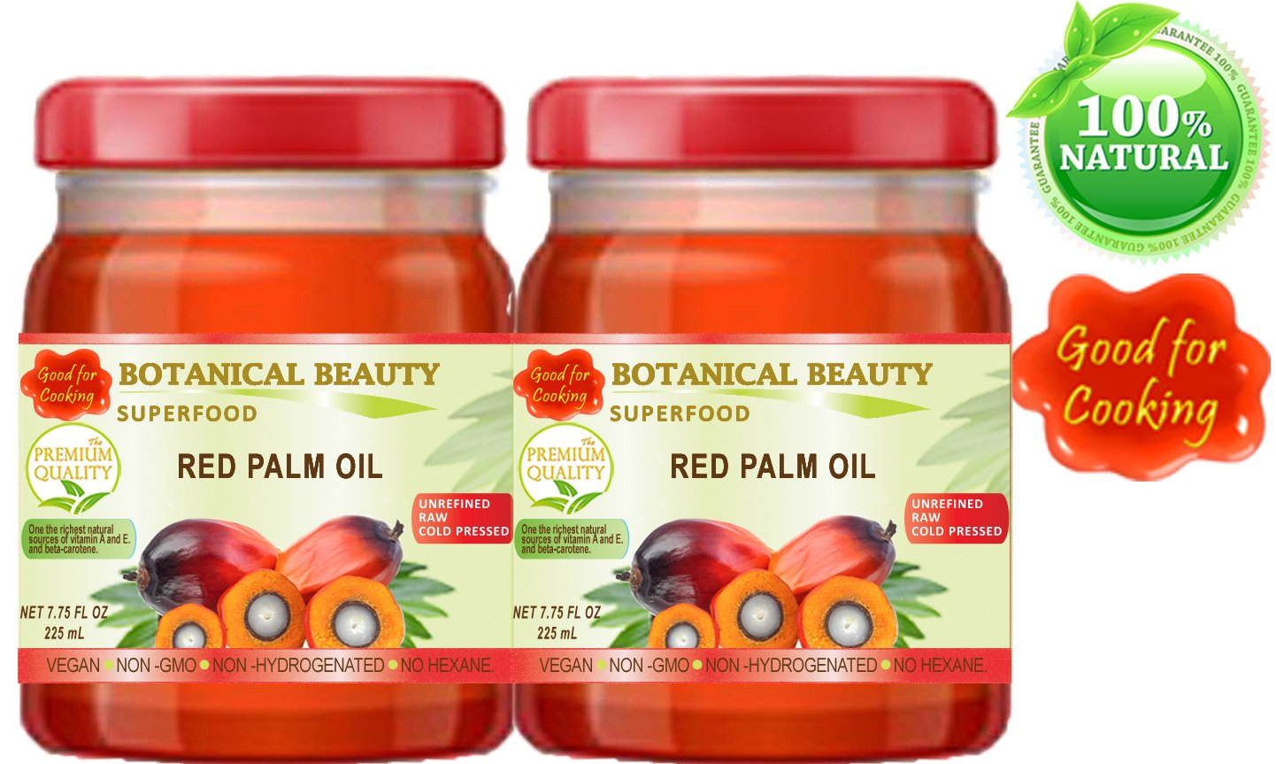 RED PALM OIL. 100% Pure / UNREFINED / EXTRA VIRGIN / Cold Pressed. SUPER FOOD. 7.75 Fl.oz – 225 ml. ( pack 2)