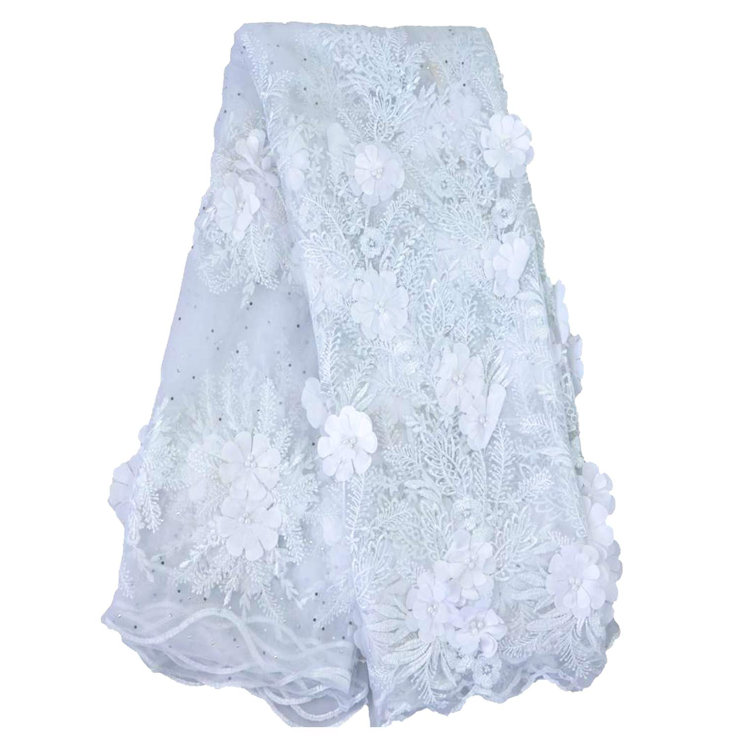 LaceQin5 Yards 3D Swiss Yarn Lace Wedding African Lace Fabric French Royal Lace Fabric (Silver)