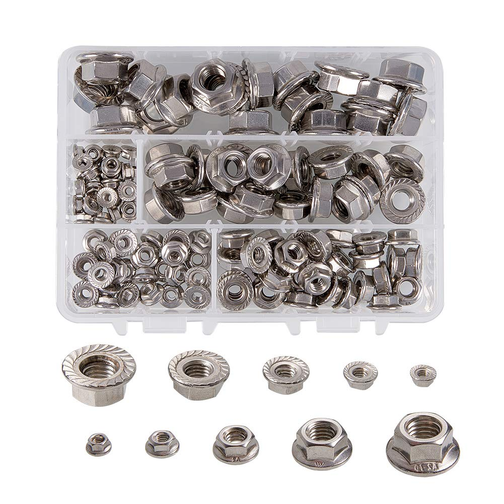 INCREWAY Stainless Steel Serrated Flange Metric Hex Lock Nuts Assortment 130Pcs(M3 M4 M6 M8 M10)