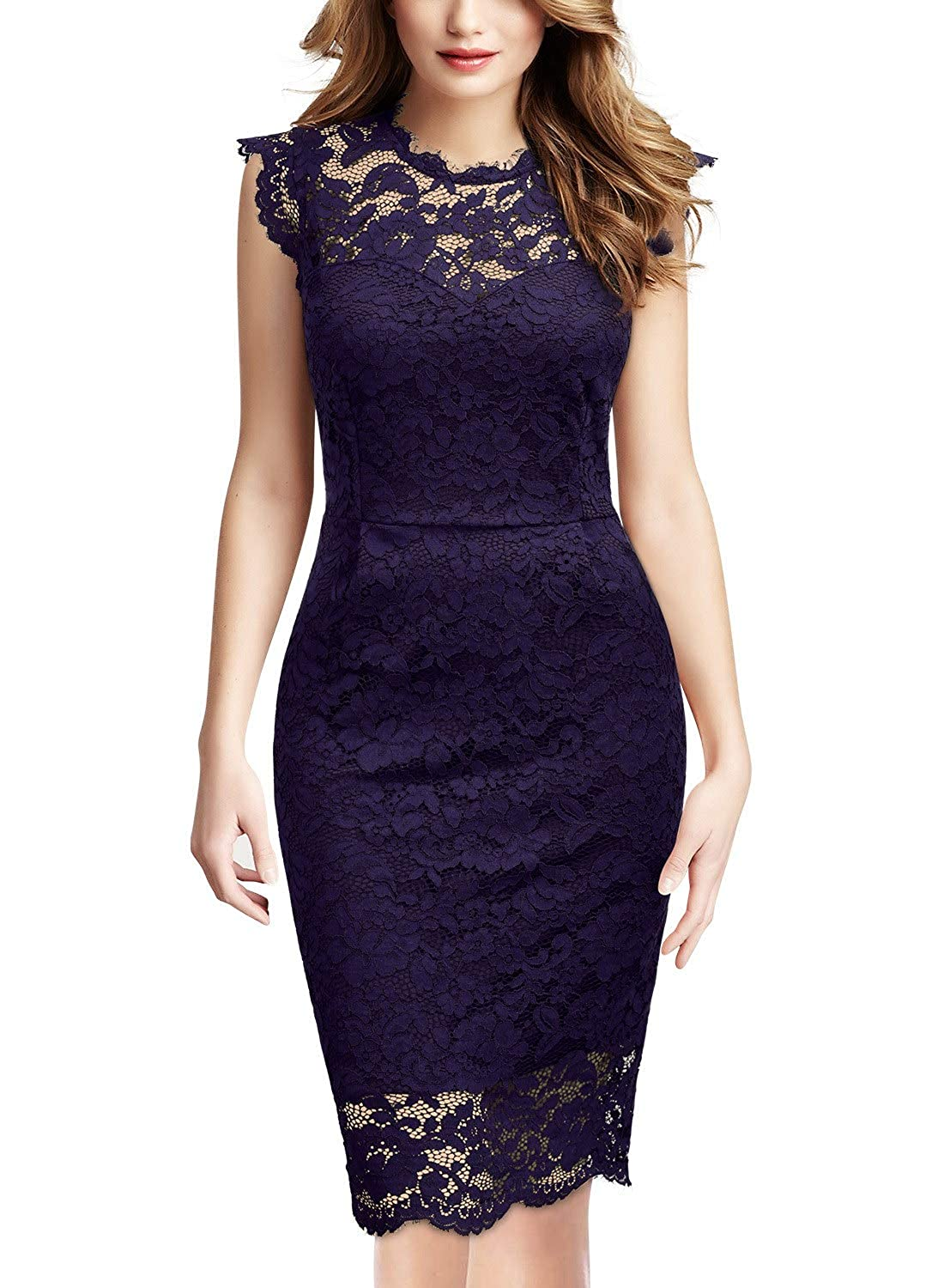 Purple Miusol Women's Retro Floral Lace Long Sleeve Slim Evening Cocktail Mini Dress