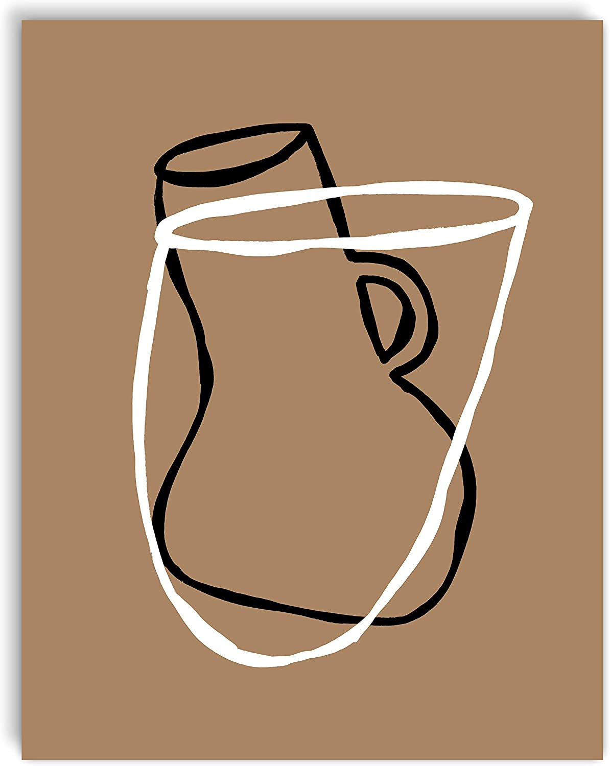 Printsmo, Bowl and Vase, Minimalist Modern Abstract Art Print Poster, Contemporary Wall Art for Home Decor 11x14 inches, Unframed (Bronze)