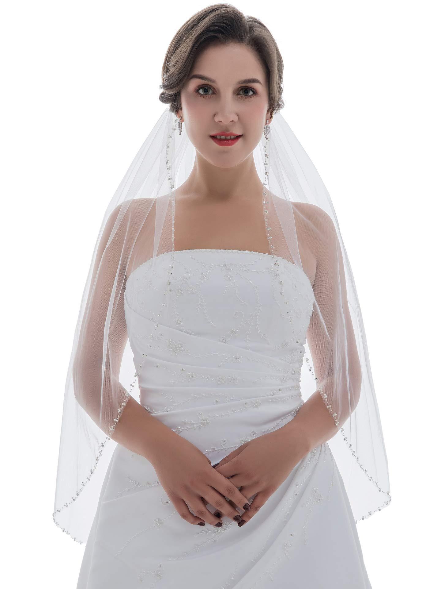 1T Rhinestone Pearl Sequin Beaded Wedding Veil (Fingertip Length 36'', Ivory) by SAMKY