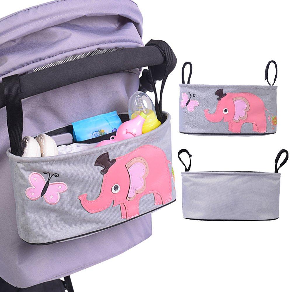 organizador Homgaty bolsa para cochecito o silla de paseo para beb/é para colgar multi funciones bolsa de almacenamiento Elephant Pattern