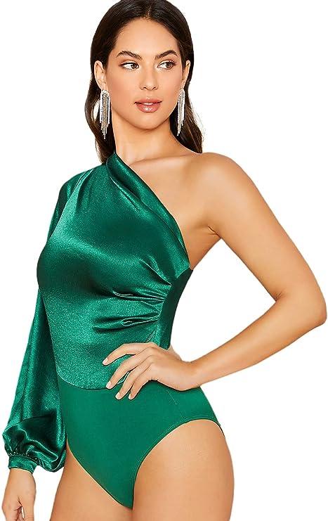 80s Tops, Shirts, T-shirts, Blouse SOLY HUX Womens One Shoulder Long Sleeve High Waist Satin Bodysuit Leotard $24.99 AT vintagedancer.com
