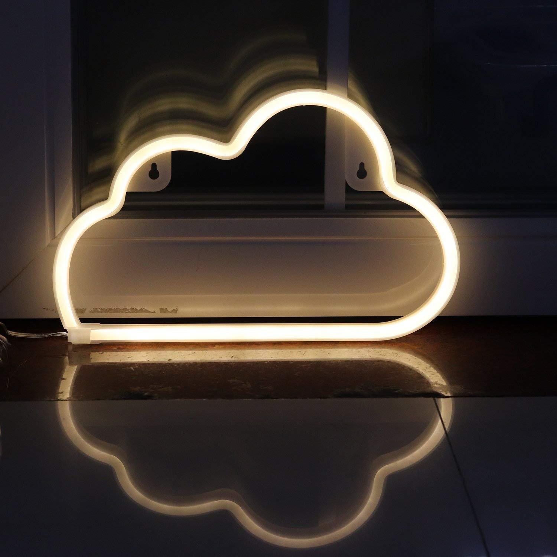 Leuchtreklame|Neonlicht-Zeichen|Wolke Wohnkultur|Warmweiß|Dekoratives Nachtlicht für Schlafzimmer Mädchen|Batteriebetrieben und USB-betrieben|Kinder Nachtlicht(NECLD) VSLIFE