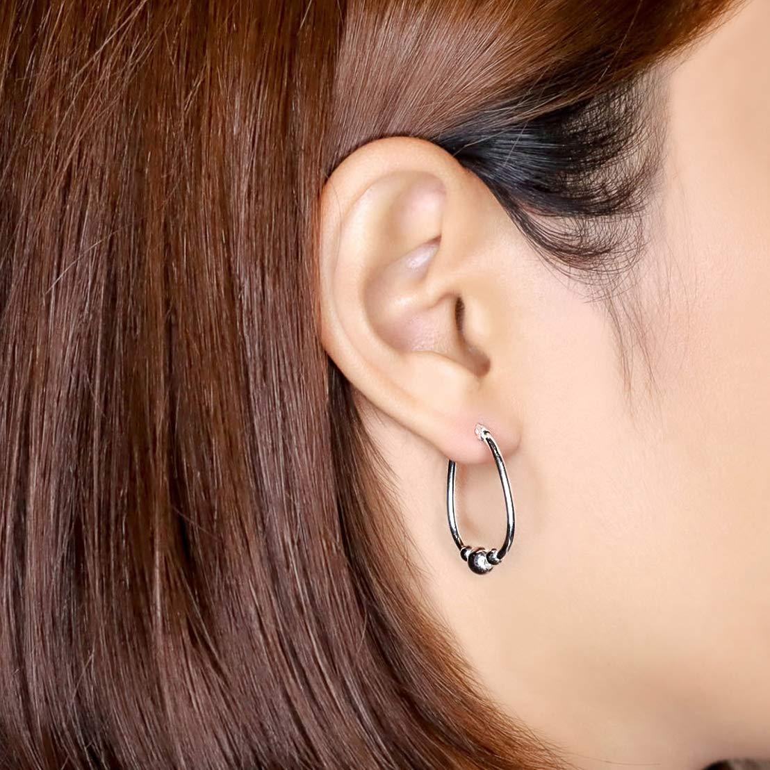 Sea of Ice Sterling Silver Polished Beaded Hoop Earrings 18mm