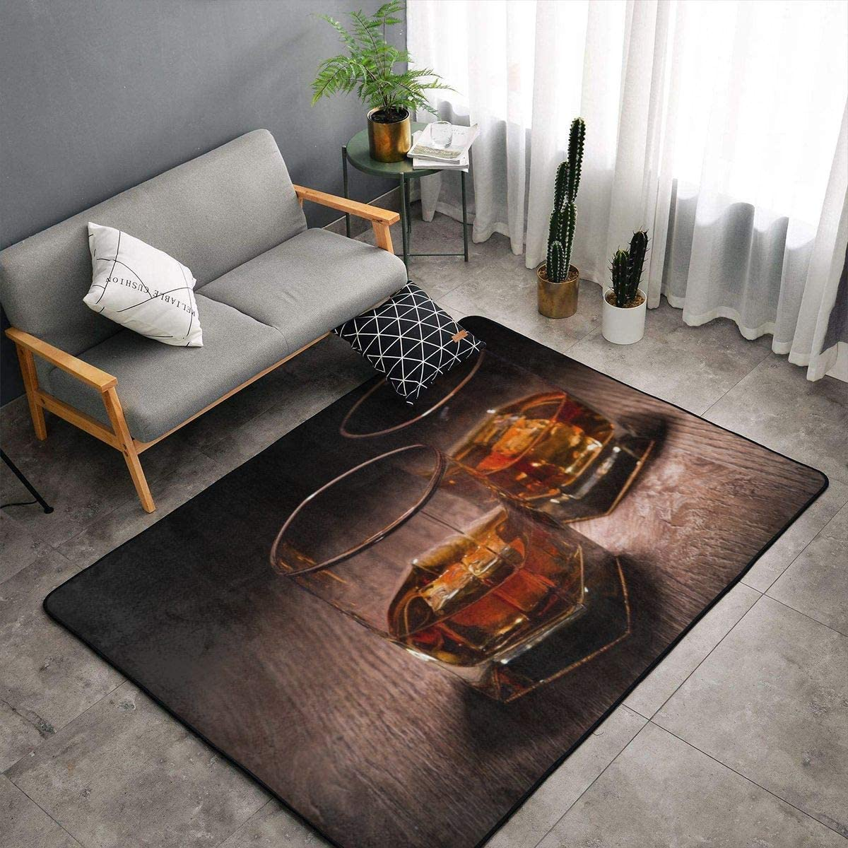 Indoor Modern Soft Floor Area Rugs Fluffy Machine Washable Carpets 60 X 39 Whiskey Suitable for Children Bedroom, Office, Coffee Table, Balcony Home Decor Rugs