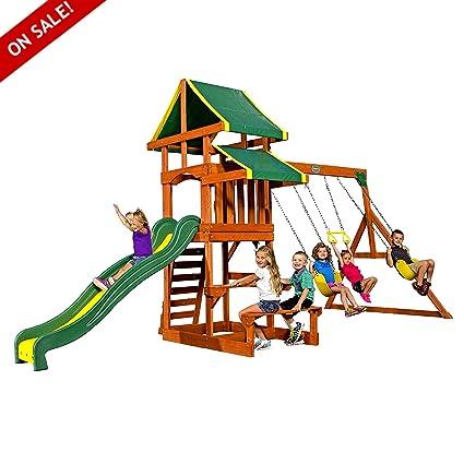 Wooden Swing Sets Cedar Kids Playcenter Physical Activity And Exercise  Garden Backyard Games Children Fun