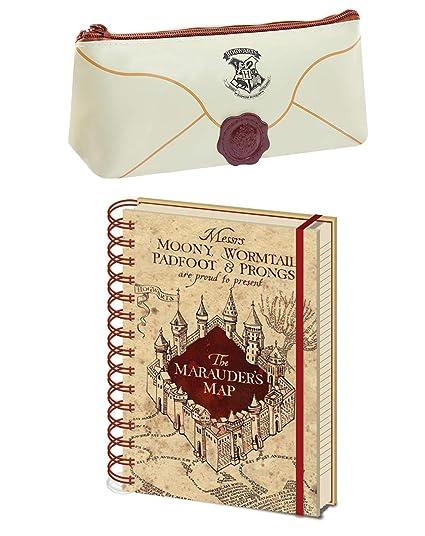 Harry Potter Hogwarts Carta Estuche and Marauders Map Cuaderno Estacionario