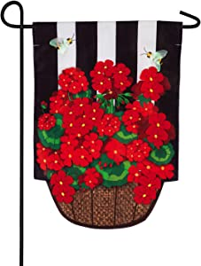 Evergreen Flag Geranium Basket Stripe Garden Applique Flag - 12.5 x 18 Inches Outdoor Decor for Homes and Gardens