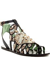 b3abd7cbd65374 Ivy Kirzhner Scrabby Jade Pearl Mamba Leather Studded Gladiator Flat  Designer Sandals