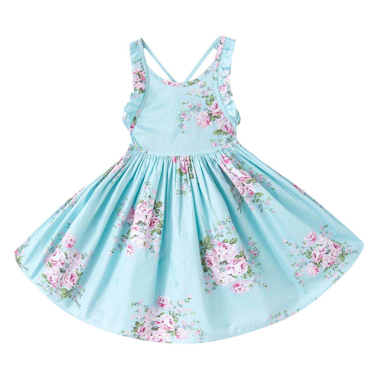 YASSON Mädchen Kleid Sommer Ärmellos Blumen Vintage A Linien Rüschen Rückenfrei Kreuz Casual Strand Urlaub Knielang Sommerkleid
