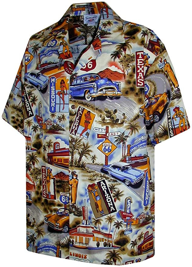 Men's Vintage Style Shirts Route 66 Hawaiian Shirts - Mens Hawaiian Shirts - Aloha Shirt - Hawaiian Clothing $33.00 AT vintagedancer.com