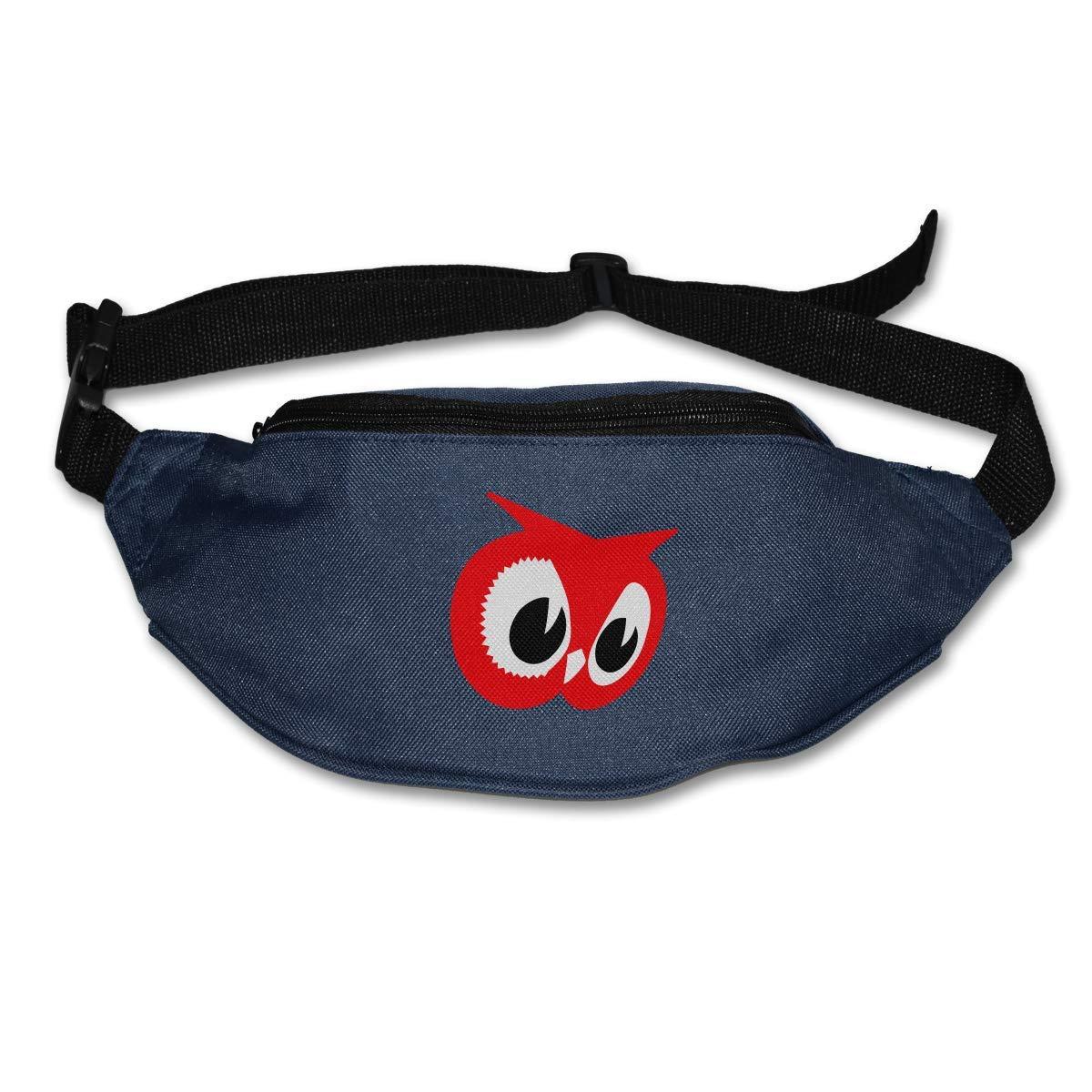 Waist Purse Cute Red Owl Head Unisex Outdoor Sports Pouch Fitness Runners Waist Bags