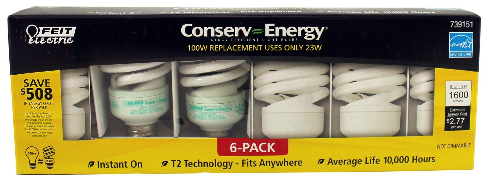 Feit Electric Conserv-energy 100w Equivalent CFL 23-watt Light Bulbs, 6-pack