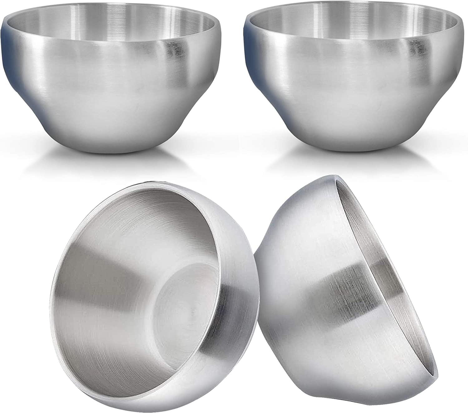 Heavy Duty Heat Insulated Brushed Stainless Steel Serving Bowls, Multipurpose, 4 Pack, LARGE
