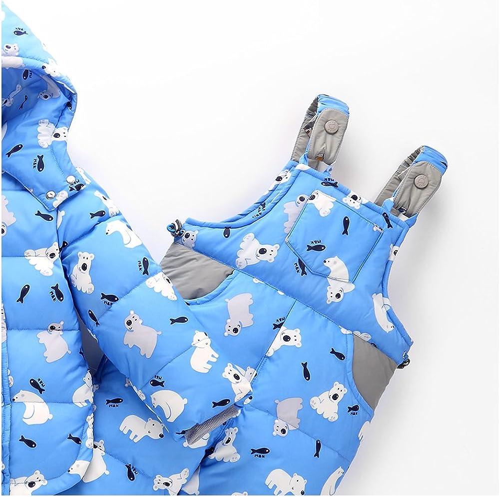 M/&A Baby Girls Snowsuit 2-Piece Down Jacket and Snow Bib