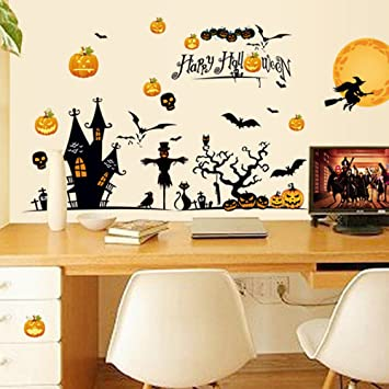 OverDose Happy Halloween Stickers Home Household Mural Decor Decal PVC Wall  Sticker 150 x 95cm