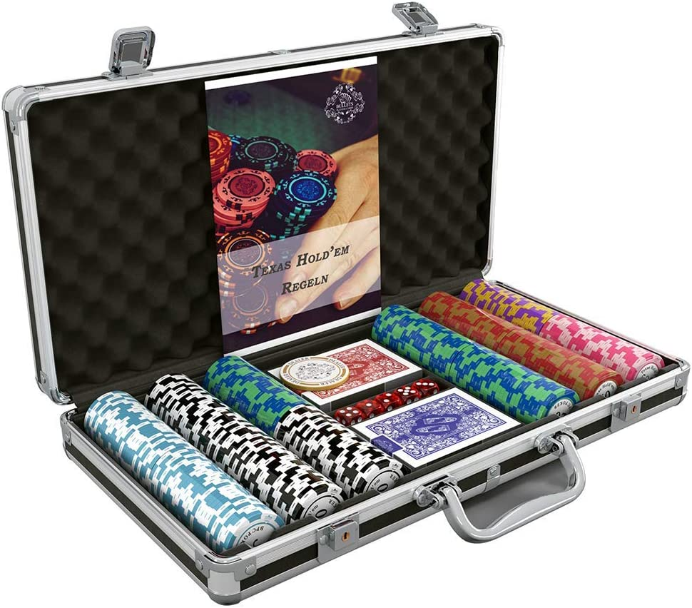 Bullets Playing Cards Poker Case with 300 Clay Poker Chips