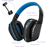 Wireless Bluetooth Headset Professional PS4 Gaming, Bluetooth 4.1 Over Ear Headphone with Built-in Mic and 8 Hour Battery, Noise Reduction & Echo Cancellation, Perfect earphone for mobile phones, computers, notebooks with two audio lines(Blue)