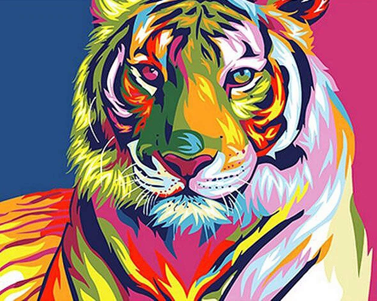 DIY Oil Painting Paintworks Paint by Number for Kids and Adults Animals Tigers 16x20 Inch,with Wooden Frame