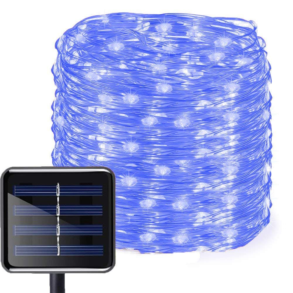 WONFAST Solar String Lights, Waterproof 72FT/22M 200LED 8 Modes Solar Copper Wire Fairy Decorative Light for Wedding Indoor Bedroom Garden Lawn Backyard Christmas Holiday Decorations (Blue)