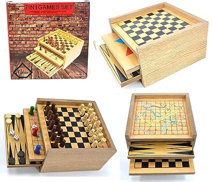 Juego DE Juegos DE Madera 7 EN 1 - Juega ATRÁS, DRAFTS, Chess, Ludo, Serpiente Y ESCALERAS, NOUGHTS & VCROSSES, Checkers Chinos - Set: Amazon.es: Hogar