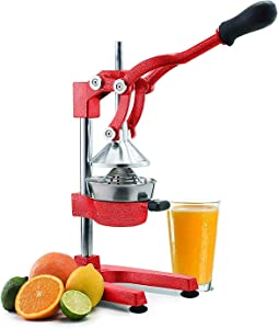 Manual Fruit Juicer - Commercial Grade Home Citrus Lever Squeezer for Oranges, Lemons, Limes, Grapefruits and More - Stainless Steel and Cast Iron - Non-skid Suction Cup Base - 15 Inch - Red - By Vollum