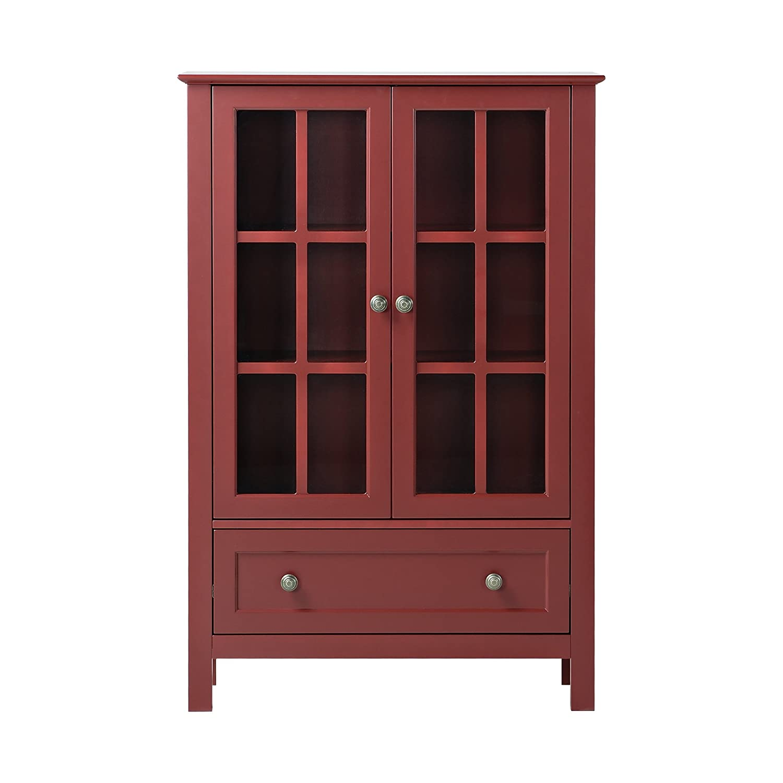 Amazon.com: Homestar With 2 Door/ 1 Drawer Glass Cabinet, 47.24 X 31.50 X  11.77 Inch, Red: Kitchen U0026 Dining