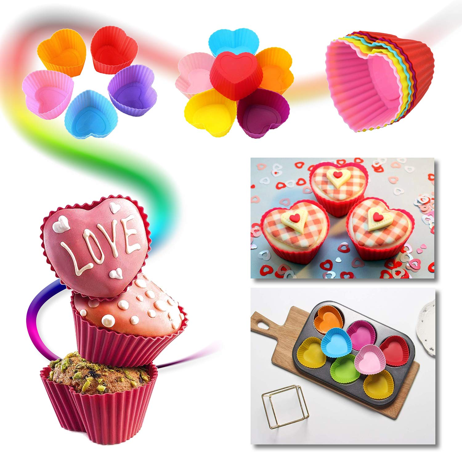 Cupcake Baking Cup Molds Bundle Easy Clean Pastry Liners 48 Nonstick Reusable Silicone Muffin Molds with Icing Pen Cupcake & Cake Decorating Pen Set by Kitchen Krush (Image #6)