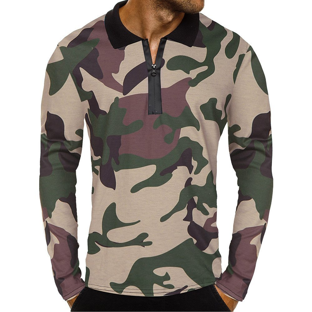 Men's Blouse-Clearance Sale!Farjing Men Casual Zipper Camouflage Long Sleeve Pullover Classic Shirt Top Blouse(S,Green)
