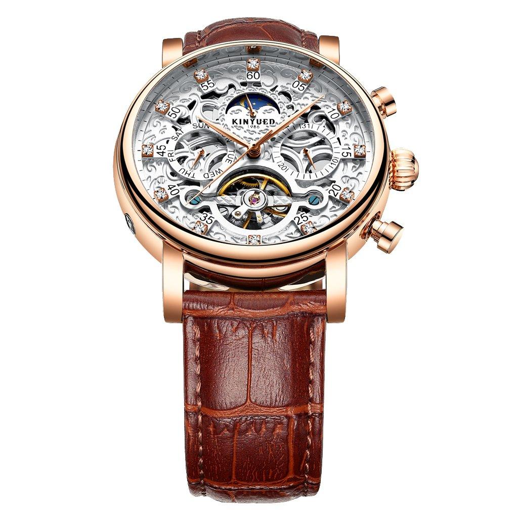 Baosity Reloj Mecánico Automático Correa de PU Cuero Esfera de Diamantes de Imitación Diseño Lujo - Marrón + Blanco + Oro Rosa