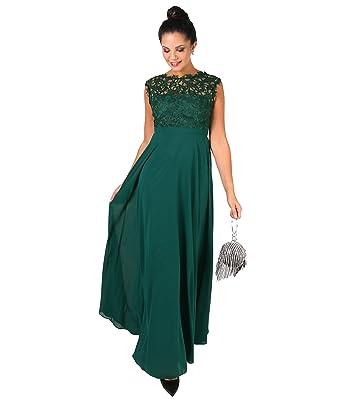 KRISP Crochet Lace Chiffon Maxi Dress (Dark Green, 4),[5813-