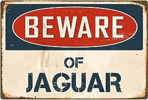 "StickerPirate Beware of Jaguar 8"" x 12"" Vintage Aluminum Retro Metal Sign VS228"