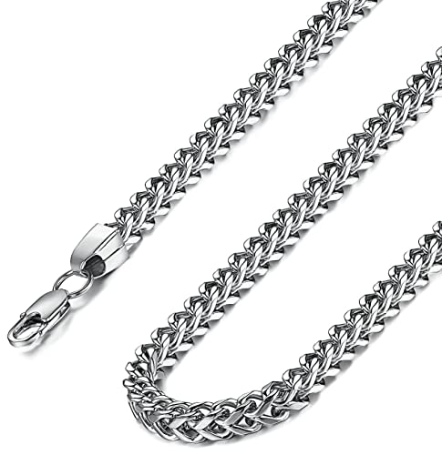 Treffen 9f97f 49672 Jstyle Panzerkette Schlangekette Herrenketten edelstahl Kette Ketten  Damenkette Silberweiß Halskette 6mm