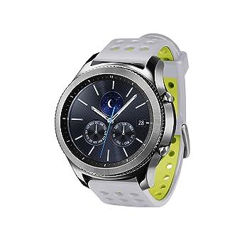 Greatfine Reloj Inteligente 22mm Silicona Banda de Reloj de la Correa de para Samsung Galaxy Gear 2, Gear S3 (SilverYellow)