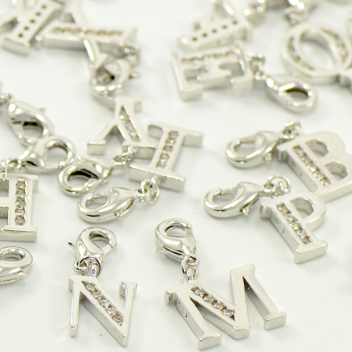 Yellow Gold Plating Lobster Clasp Clip On Initial Charms Dangle Cubic Zirconia Letter H